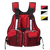 Slimerence Fly Fishing Vest Pack, Boat Aid Sailing Kayak Floating Life Jacket Vest, Adjustable Adjustable Belt of Size for Men and Women Red