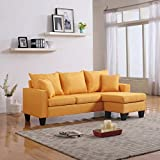 DIVANO ROMA FURNITURE Modern Linen Fabric Small Space Sectional Sofa with Reversible Chaise (Yellow)