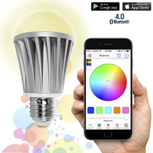 Flux Bluetooth Smart LED Light Bulb – Smartphone Controlled Dimmable Multicolored Color Changing Lights – Works with iPhone, iPad, Apple Watch, Android Phone and Tablet