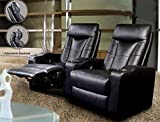 Product review for Pavillion Theater Seating - 2 Black Leather Chairs - Coaster Co.