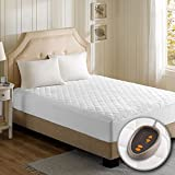 Beautyrest - Cotton Blend Heated Mattress Pad Full Size - Secure Comfort Technology - Luxury Quilted Electric Mattress Pad with Deep Pocket  - White -  5-Setting Heat Controller - 5 Years Warranty