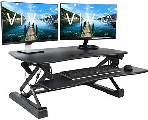 VIVO Black Deluxe Height Adjustable Standing Desk 36' Tabletop Monitor Sit to Stand Laptop Riser Removable Keyboard Tray Platform Converter (DESK-V000DB)