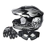 XFMT Youth Kids Motocross Offroad Street Dirt Bike Helmet Goggles Gloves Atv Mx Helmet Black Skull M