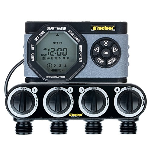 Melnor 53280 4-Outlet Digital Water Timer Simple and Flexible Programming, 4 Zone