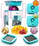 4-in-1 Vegetable Chopper for Onion, Potato, Veggie, Fruit - French Fry Cutter, Dicer, Spiralizer (Turquoise)