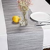 HQSILK PVC Table Runner 12'×72'(30×180CM) Non-Slip Heat Resistant Modern Table Runner for Family Dinner Office Kitchen Table Gray