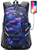 Backpack Bookbag For School College Student Sturdy Travel Business Laptop Compartment with USB Charging Port Luggage Chest Straps Night Light Reflective (Galaxy Color C)