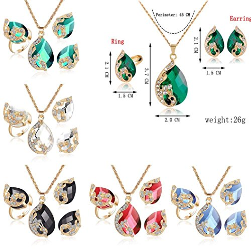 Clearance!Women Party Necklace,Todaies Fashion Jewelry Sets For Women Crystal Necklace Ring Earrings Wedding 4 Colors