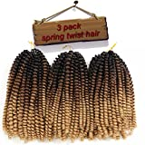 3 Packs Spring Twist Hair Ombre 8 Inch Crochet Braids Kanekalon Synthetic Hair Extensions Braiding Hair Kinky Curly Twist High Temperature Fiber(Black/Dark Brown/Light Brown)