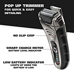 Wahl Smart Shave Rechargeable lithium ion wet / dry water proof foil shaver for men. Smartshave technology for shaving, trimming, and wet or dry shave with precision ground trimmer blade #7061-900  Image 3