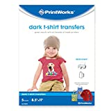 Printworks Dark T-Shirt Transfers, Perfect for DIY Christmas Presents and Crafts, For Use on Dark and White/Light Fabrics, Photo Quality, For Inkjet Printers, 5 Sheets, 8 ½' x 11' (00529)