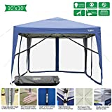 VINGLI 10x10ft Easy Pop Up Canopy Tent w/ 4 Removable Zippered Mesh Sidewalls & Portable Wheeled Carrying Bag, for Patio/Gazebo/Camping/Outdoor Activities, UV Coated Sun Shade Shelter, Blue