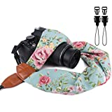 Elvam Scarf Camera Neck Shoulder Strap Belt for DSLR, SLR, DC, Instant Camera, Fujifilm, Nikon, Canon, Sony, Olympus, Leica Etc, Retro Green Floral Pattern