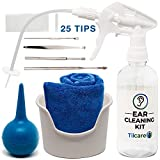 Ear Wax Removal Tool by Tilcare - Ear Irrigation Flushing System for Adults & Kids - Perfect Ear Cleaning Kit - Includes Basin, Syringe, Curette Kit (Spoon and Spiral), Towel and 25 Disposable Tips