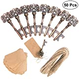 GoForwardM 50 pcs Key Bottle Openers Wedding Favors Bottle Opener Skeleton Key Bottle Opener Rustic Wedding Party Decorations With DIY Cardboard Tag Card (Each Pcs Individually Packaged)