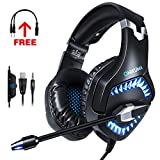 Gaming Headset for PS4, Xbox One, PC, Gaming Headphones with 7.1 Stereo Surround Sound, Updated Noise Cancelling Mic, with Mute & Volume Control for Mac, Laptop, NS