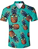 TUONROAD Men Casual Tropical Vacation Aloha Party Short Sleeve Hawaiian Shirt Turquoise Yellow Pineapple Ananas with Sun Glasses Funny Printed Colorful Beach Button Down Shirt Retro Hawaiian Clothes