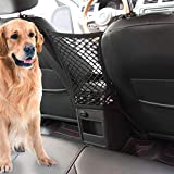 Car Dog Barrier Vehicle Backseat Mesh Universal Obstacle Stretchable Front Seat Pet Barrier Net Organizer Auto Backseat Storage Prevent Disturb Stopper from Children and Dogs for Cars (Black)