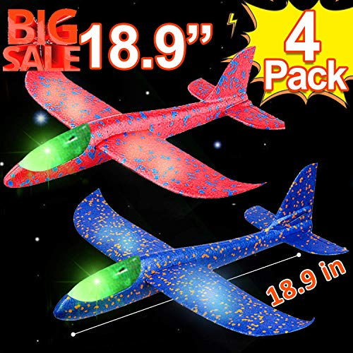4 Pack 18.9' Large Throwing Foam Airplane Toys with Dual Flight Mode LED Light Up Glider Planes Flying Aircraft for Kids 3 4 5 6 7 Year Up Boy Girls Toddlers Outdoor Sport Game Toys 4th of July