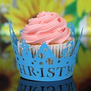 DAaomi Christmas Hollow Lace Cup Muffin Cake Paper Case Wraps Cupcake Wrapper Blue 51SfLNrHjXL