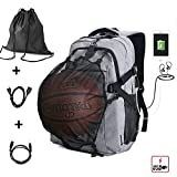 G1-Tech Basketball Backpack, Soccer Backpack, Football Backpack, Computer Backpack Laptop Backpack with USB Port, Headphone Pouch and Ball Holder with Basketball Net for Women/Men - Grey