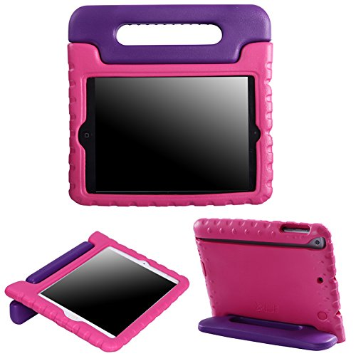 HDE Kids Case for iPad Mini 2 3 -Shock Proof Rugged Heavy Duty Impact Resistant Protective Cover Handle Stand for Apple iPad Mini 1 2 3 Retina (Purple Pink)
