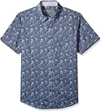 Ben Sherman Men's SS Tonal FLRL Print Shirt, Green, L