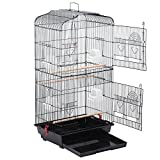 Yaheetech 36' Portable Hanging Medium Size Bird Cage for Small Parrots Cockatiels Sun Quaker Parakeets Green Cheek Conures Finches Canary Budgies Lovebirds Travel Bird Cage, Black