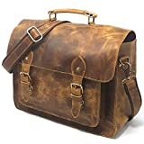 Leather DSLR Camera Bag 15.6-Inch Laptop Briefcase - Shoulder Bag Messenger Satchel w/Removable Insert - Fits Professional Size DSLR with Lens