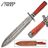 Timber Wolf Temple Guard Short Sword with Sheath - Damascus Steel Blade, Wooden Handle, Fileworked Guard, Brass Accents - Length 18'