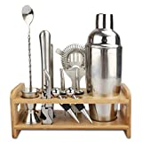 Bar Set, WOHOME Cocktail Shaker Bar Tools with Stylish Bamboo Stand- Stainless Steel Bartender Kit Premium Bartendering Tool for Home/Bars/Traveling and Outdoor Parties