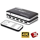 Zettaguard 4K x 2K 4 Port 4 x 1 HDMI Switch with PIP (Picture in Picture)and IR Wireless Remote Control, HDMI Switcher Hub Port Switches for PS4 Xbox Apple TV Fire Stick Blu-Ray Player (ZW410)