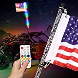 DJI 4X4 4FT LED Whip Lights with Flag RF Remote Wireless Control RGB Spiral Dancing/Chasing Light Lighted Antenna Whips for ATV UTV RZR Off Road Polaris Jeep Trucks Dunes Sand