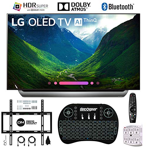 LG C8PUA 65 OLED 4K HDR Ultra HD AI Smart TV with Wireless Keyboard + Wall Bracket Bundle