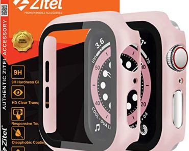 Zitel Case Bumper Cover with Built-in 9H Tempered Glass Screen Protector Compatible with Apple Watch 40mm Series 6, SE Series, 5 Series, 4 Series Edge-to-Edge 360 Degree Smart Defense – Pink Matte