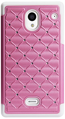 Reiko Premium Hybrid Pc + Silicone Double Protection Diamond Bling Case Cover for Sharp Aquos Crystal 306Sh - Retail Packaging - White Pink