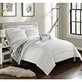Chic Home 4 Piece Eliza Pleated/Ruffled Reversible Paisley Floral Print Duvet Cover Set Shams/Decorative Pillows, Queen, White