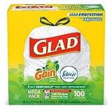 Glad Tall Kitchen Drawstring Trash Bags - OdorShield 13 Gallon White Trash Bag, Gain Original with Febreze Freshness - 100 Count (Packaging May Vary)