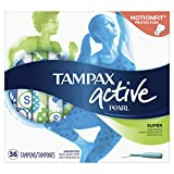 Tampax Pearl Active Tampons with Plastic Applicator, Super Absorbency, Unscented, 36 Count - Pack of 6 (216 Count Total) (Packaging May Vary)