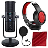 M-Audio Uber Mic USB Microphone with Headphone Output with Samson Headphones and Accessory Bundle
