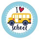 Big Dot of Happiness Back to School - First Day of School Classroom Decorations Circle Sticker Labels - 24 Count