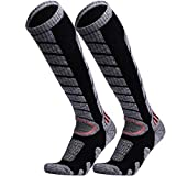 WEIERYA Ski Socks 2 Pairs Pack for Skiing, Snowboarding, Cold Weather, Winter Performance Socks Black Medium