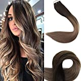 Fshine Tape Hair Extension Double Sided Stick Tapes 12 Inch Hot Color #2 Fading To #6 And #18 Ash Blonde Glue On Hair Human Adhesive Tape For Extentions Human Hair 20Pcs 30 Gram Thick Ends