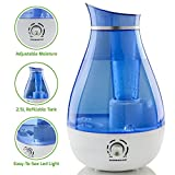 Ovente HMD625BL Ultrasonic Humidifier, Refillable Water Tank, Moisture Control Knob, Cool Mist Outlet, Indicator Light, 20-Watts, 2.5 Liter, Blue