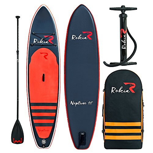 """Rokia R Inflatable Stand Up Paddleboard 11' (6"""" Thick) Premium SUP for All Skill Levels, Orange"""