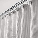 mDesign Long Polyester/Cotton Blend Fabric Shower Curtain with Waffle Weave and Rustproof Metal Grommets for Bathroom Showers and Bathtubs, 72' x 84' - Light Gray
