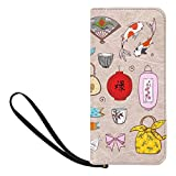 InterestPrint Japanese Elements on Vintage Rice Paper Womens Wallets Wristlet Strap Handle Clutch Purse with Strap