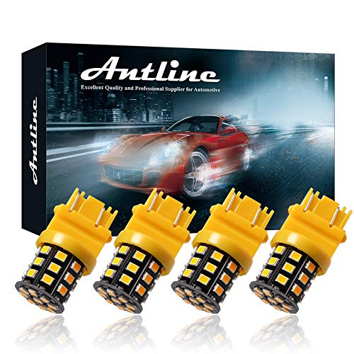 Antline 3157 3156 3057 4157 3056 LED Bulbs Amber Yellow, 12-24V Super Bright 1000 Lumens Replacement for Turn Signal Blinker Lights, Side Marker Lights (Pack of 4)