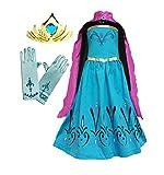 Cokos Box Girls Coronation Dress Costume Cape Gloves Tiara Crown, 4 Years, Blue