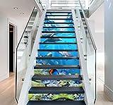 "3D Dolphin Ocean View 6411 Stair Risers Decoration Photo Mural Vinyl Decal Wallpaper Murals Wallpaper Mural US Lemon (15x H:18cm x W:102cm (7""x40""))"